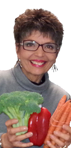 Barbara Mathison with fresh vegetables at Nutitious Way